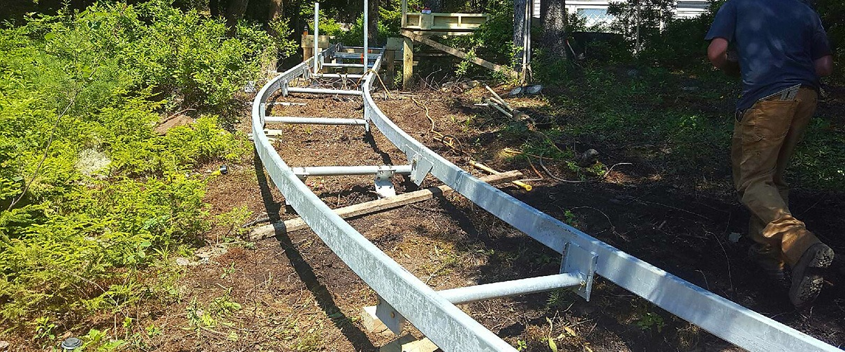 Marine Innovations Custom Curved Incline Tram Track System